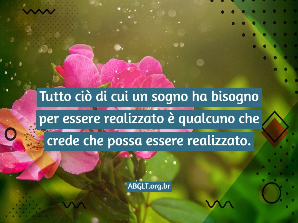 Tutto ciò di cui un sogno ha bisogno per essere realizzato è qualcuno che crede che possa essere realizzato.