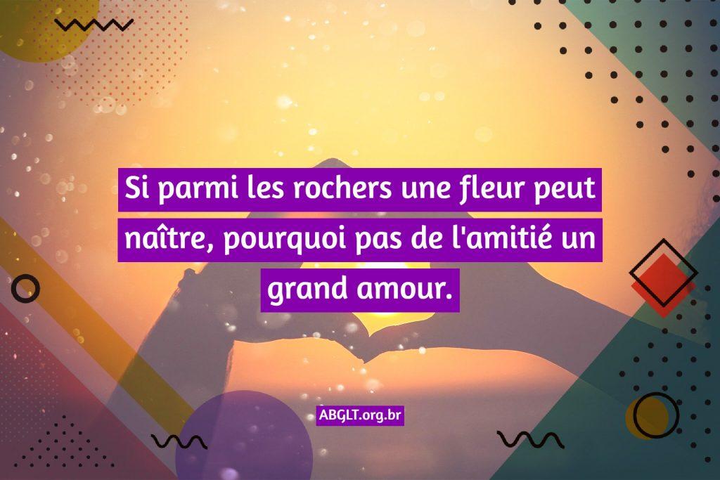 Si parmi les rochers une fleur peut naître, pourquoi pas de l'amitié un grand amour.