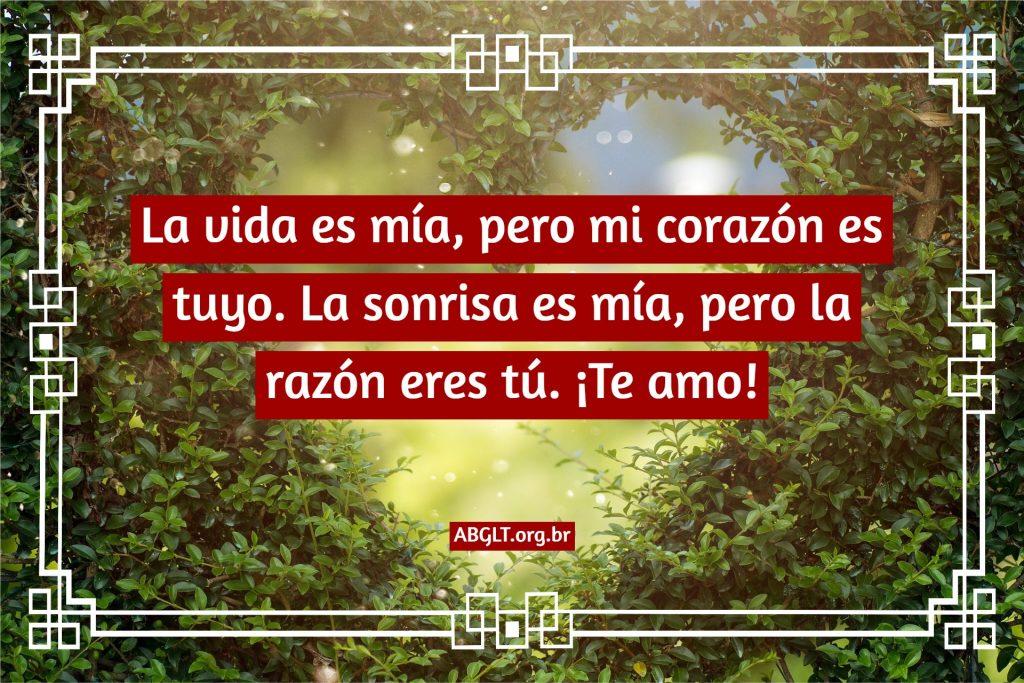 La vida es mía, pero mi corazón es tuyo. La sonrisa es mía, pero la razón eres tú. ¡Te amo!