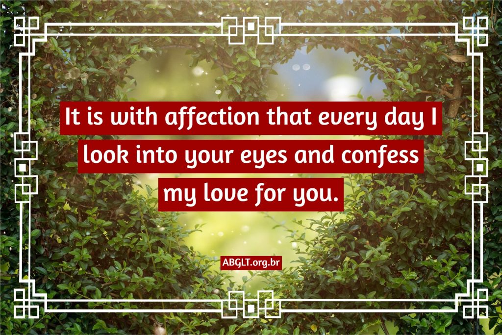 It is with affection that every day I look into your eyes and confess my love for you.