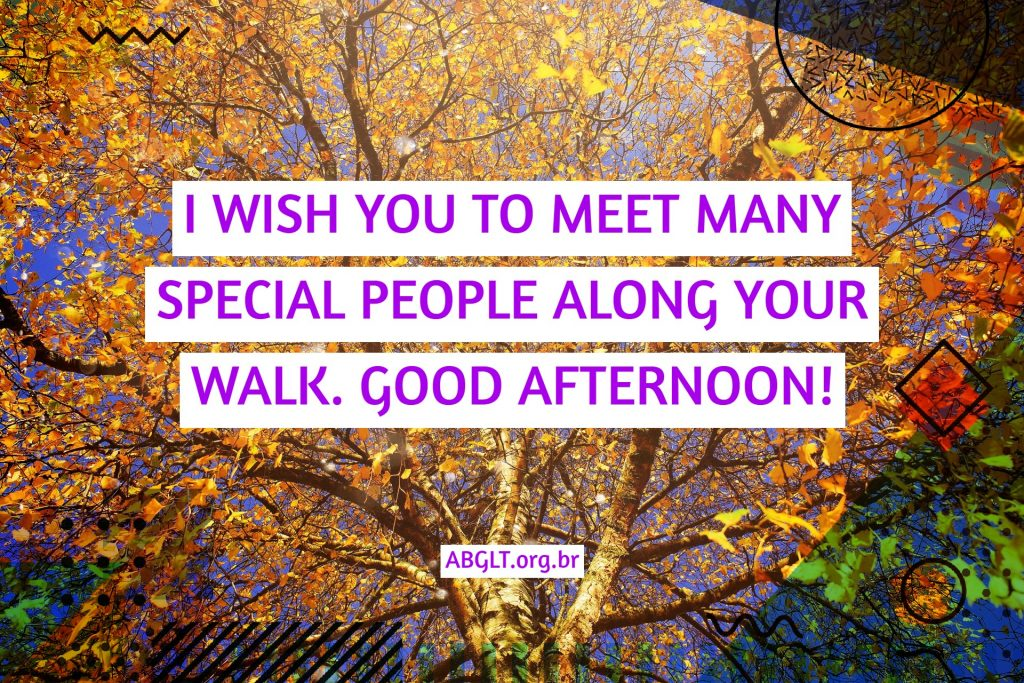 I WISH YOU TO MEET MANY SPECIAL PEOPLE ALONG YOUR WALK. GOOD AFTERNOON!